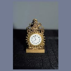 Old Doll Miniature Metal Ornate Faux Mantle Clock