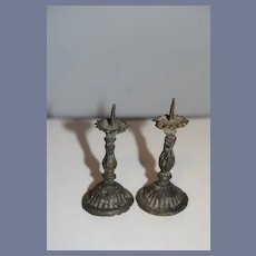Old Miniature Doll Candle Sticks Metal Dollhouse Candlesticks