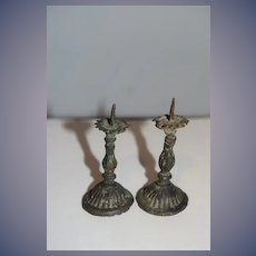 Old Miniature Doll Candle Sticks Metal Dollhouse Candlesticks