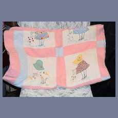 "Old Bonnet Head Doll Quilt Patchwork Sweet 67"" X 83"" Beautiful"