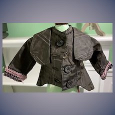 Wonderful Doll Jacket W/ Antique Material Fashion Doll Hand Made