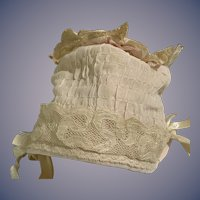 Sweet Doll Bonnet Hand made W/ Lace Fancy Hat