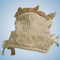 Sweet Doll Bonnet Hand made W/ Lace Fancy Hat