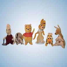 Vintage Walt Disney 1960's Velveteen Winnie The Pooh SET Winnie The Pooh Piglet Tiger Piglet Kanga and Rabbit Eeyore