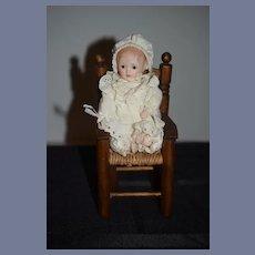 Vintage Artist Doll Sweet W/ Wood Cane Chair Miniature
