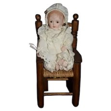 Vintage Artist Doll Sweet W/ Wood Cane Chair Miniature