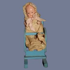 Old Doll Miniature Painted Bisque Baby Doll in Wood Rocking Chair Dollhouse