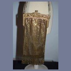 Vintage Fancy Mesh Purse Gold W/ Fringe