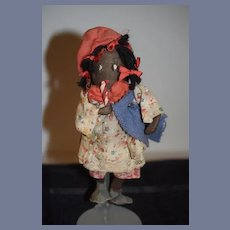 Old Black Cloth Rag Doll Sweet Sewn on Features Unusual