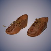 Old Fancy Doll Leather Shoes with Fancy Pom Pom Sweet
