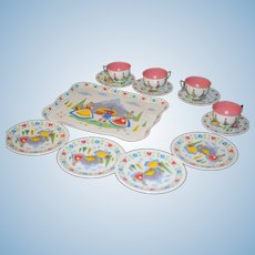 Vintage Tin Litho Dutch Teaset Tea Set W/ Tray Cups Saucers Plates Sweet Doll Set