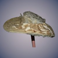 Antique Doll Hat Bonnet Wide Brim Lace Wire Frame Tufted For French Doll