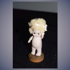 Antique Doll Miniature All Bisque Character Hertwig Glass Eyes Dollhouse