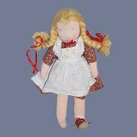 Vintage Doll German Cloth Stockinette Doll W/ Tag Sweet