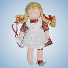 Vintage Doll German Cloth Stockinette Doll W/ Tag Sweet