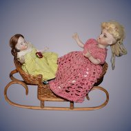 Vintage Doll Wicker Sleigh W/ Two Dolls Miniature Dollhouse Antique and Artist