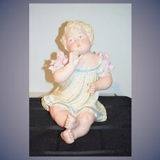 """Huge Antique Doll Bisque Piano Baby Figurine 13"""" Tall Sweet Girl Gazing"""