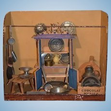 Antique Doll Dollhouse Tin Kitchen Filled W/ Accessories and Furniture Miniature Roombox Diorama