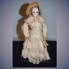 Antique Doll French Bisque Poupee Dressed Petite Size Closed Mouth