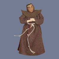 Old Cloth Doll Monk Molded Features Unusual