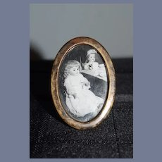Old Doll Tin Frame W/ Glass W/ Doll Picture Dollhouse