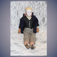 Antique Doll Parian Boy Dressed Molded Hair China Head