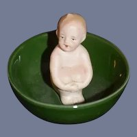 Antique Doll Piano Baby Baby in Bowl Erphila Wonderful Miniature Heubach: