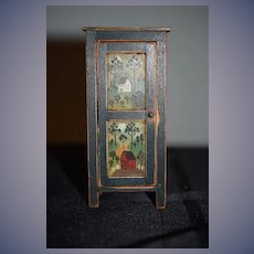 Artist Doll Miniature Dollhouse Folk Art Signed Painted Cupboard Chest BBE
