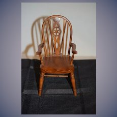 Wonderful Doll Miniature Artist Wood Windsor Back Chair Nicely Made Signed F.A.P. Miniatures B Arm Chair