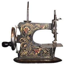 Old Doll Child's Miniature TINY Working Sewing Machine Ornate Metal