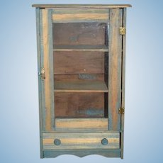 Antique Doll Wood Cabinet Wardrobe Great Display Large Scale