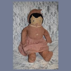 Old Cloth Doll Rag Doll Sweet Sewn on Features