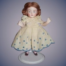 Antique Doll Miniature All Bisque Solid Dome Pink Socks Jointed Arms Dollhouse