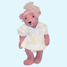 Wonderful Vintage Artist Teddy Bear Jointed Pink Signed Dated Numbered