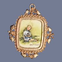 Wonderful Doll Miniature Dollhouse REAL Water Color Painting Joan Mitchell 1978 Ornate metal Frame