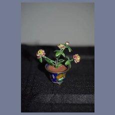 Vintage Doll Enamel Urn w/ Miniature Enamel Flowers Flower Pot Dollhouse