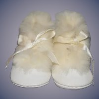 Vintage Doll Child's Leather and Fur Shoes... Sweet