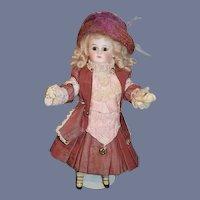 Antique Doll Sonneberg Closed Mouth Flange Neck Fancy Clothes Cabinet Petite Size