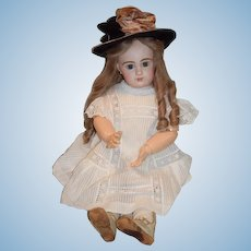 "Antique French Bisque Doll BeBe Emile Jumeau 28"" Signed Body Applied Ears Pressed Bisque 13 Head Size"