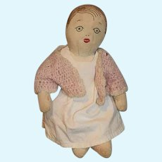 Old Cloth Doll Rag Doll Sewn Features and Hair Baby Doll