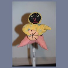 Old Black Cloth Doll Rag Doll W/ Pincushion Sweet