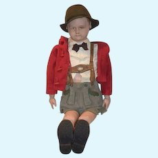 """Huge & Wonderful Old Martha Chase LARGE Boy Scout 39"""" Tall Cloth Doll Stockinette"""