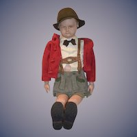 "Wonderful Old Martha Chase LARGE Boy Scout 39"" Tall Cloth Doll Stockinette"