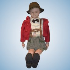 """Wonderful Old Martha Chase LARGE Boy Scout 39"""" Tall Cloth Doll Stockinette"""