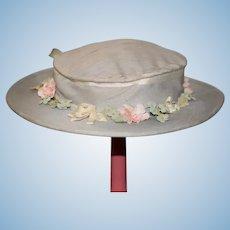 Sweet Vintage Doll Hat Wide Brim Flower Trim