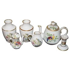 Wonderful Doll Miniature Porcelain Set Spode and Others Lot Urns Teapot CandleStick Pitcher