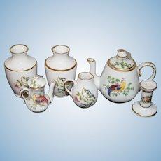 Wonderful Doll Miniature Porcelain Set Spode and Others Lot Urns Teapot CandleStick Pitcher