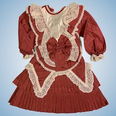 Beautiful Doll Dress Drop Wiast Lace Pleated Great for French Doll