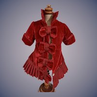 Sweet Doll Hand Made Red Velvet Jacket W/ Fancy Bows Collar Dress Coat