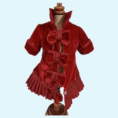 Sweet Doll Hand Made Red Velvet Jacket W/ Fancy Bows Collar Dress Coat